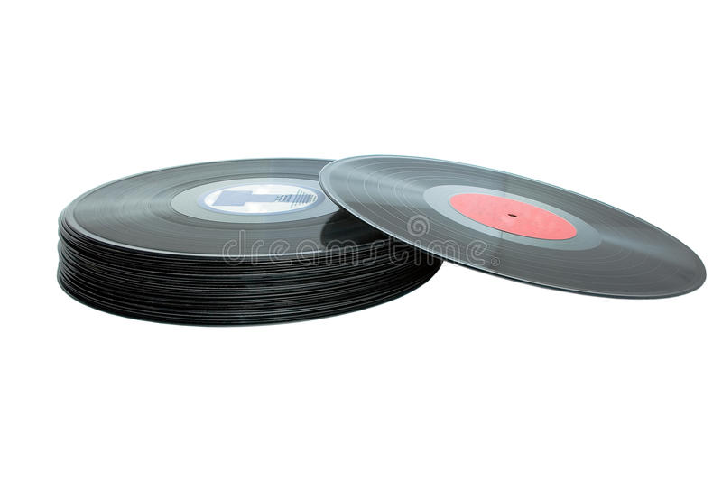Vinil records. Retro styled vinil records isolated on white royalty free stock photography