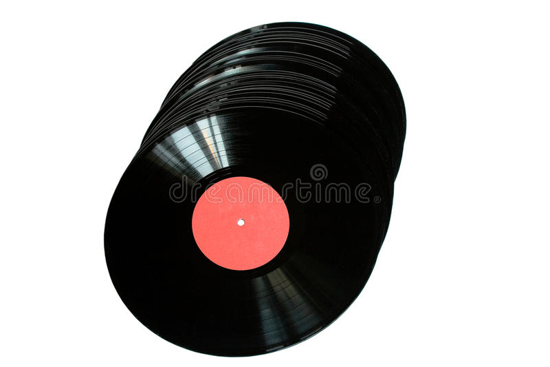 Vinil records. Retro styled vinil records isolated on white stock image