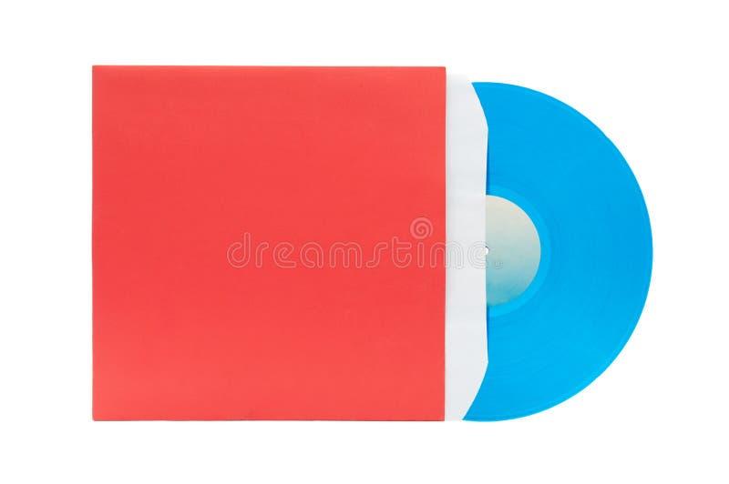 Vinile blu con il coperchio rosso fotografia stock