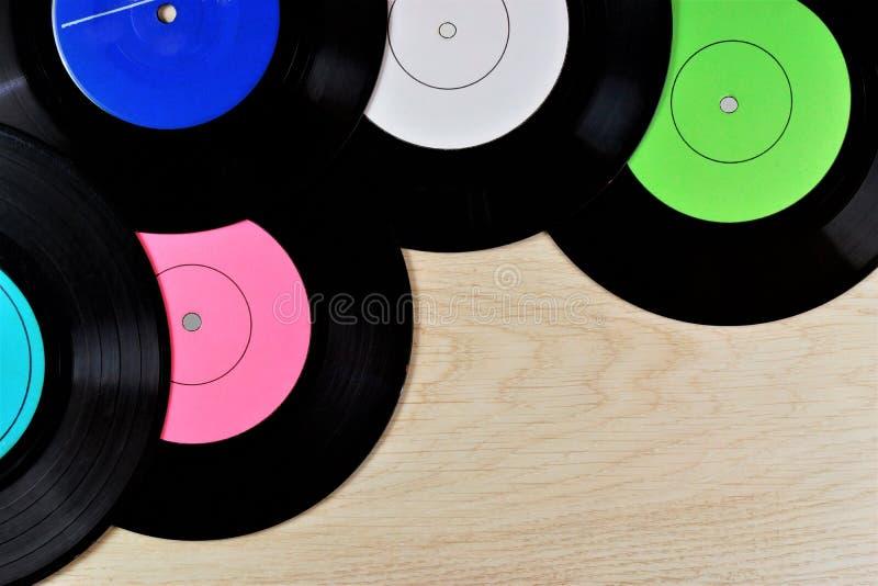 Vinilo alrededor de la música de fondo expediente-retra para los discos del club Disco de gramófono, disco de Edison, medio audio foto de archivo