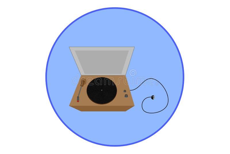 Vinilo de la placa giratoria medios jugador-retros muestra, icono Ilustración del vector libre illustration