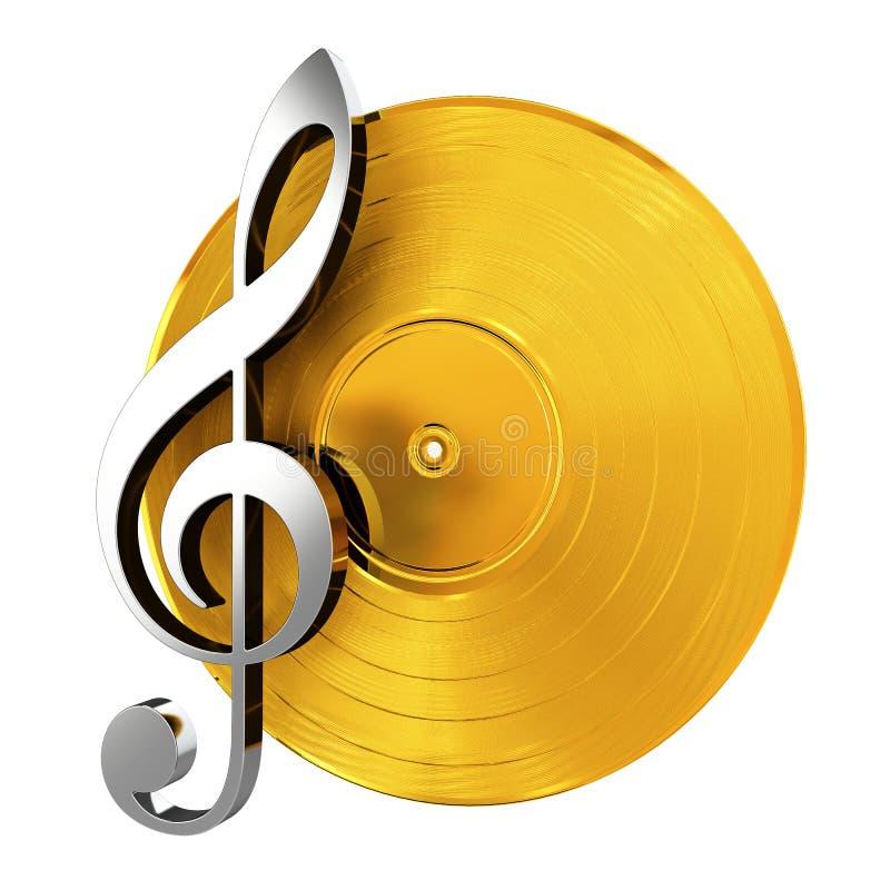 Vinilo de oro con clave de la música libre illustration