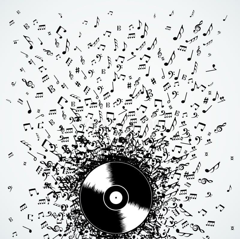 Vinilo del disco del chapoteo de las notas de la música de DJ stock de ilustración