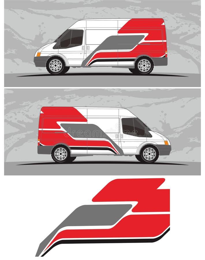 Vinilos y etiquetas para el coche, furgoneta, camión que compite con gráficos del vehículo en formato aislado libre illustration