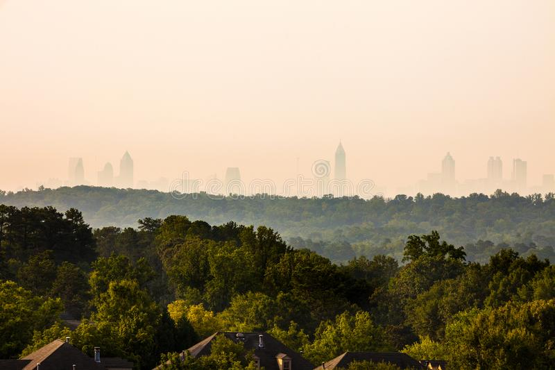 Vinings Neighborhood with downtown skyline in the back in Atlanta stock photos