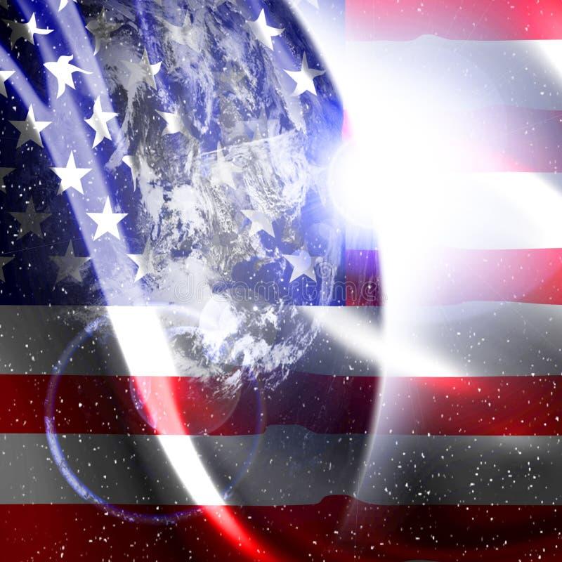 Vinka amerikanska flaggan royaltyfri illustrationer