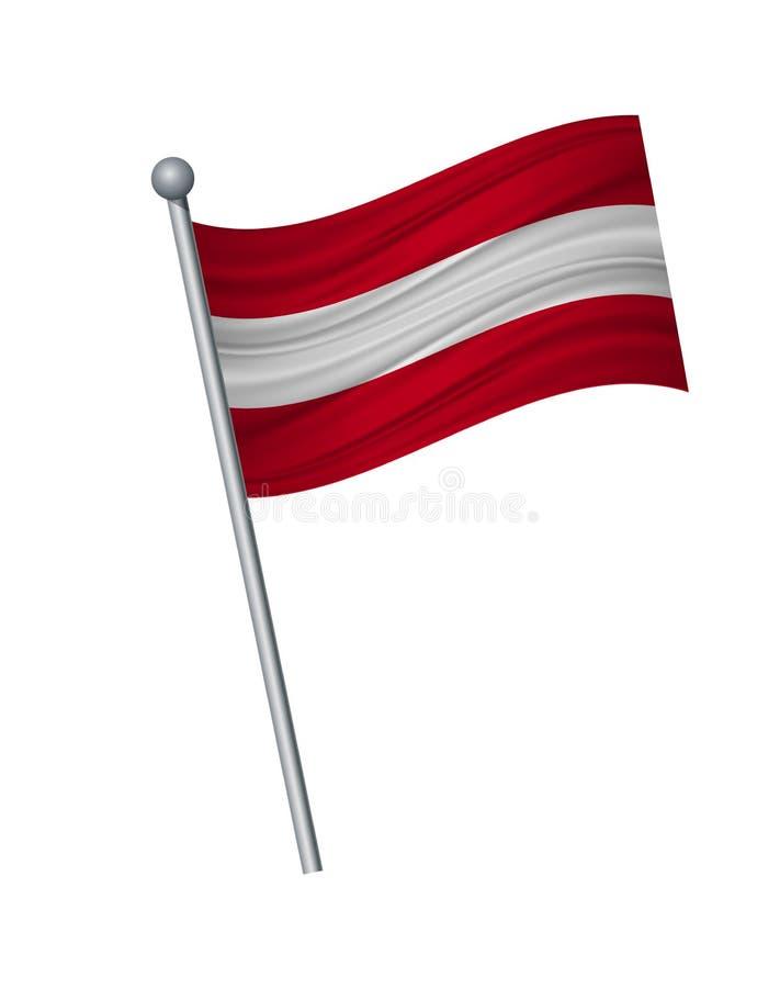 vinka av flaggan på flaggstång, officiella färger och proportion korrekt Vektorillustrationisolat på vit bakgrund vektor illustrationer