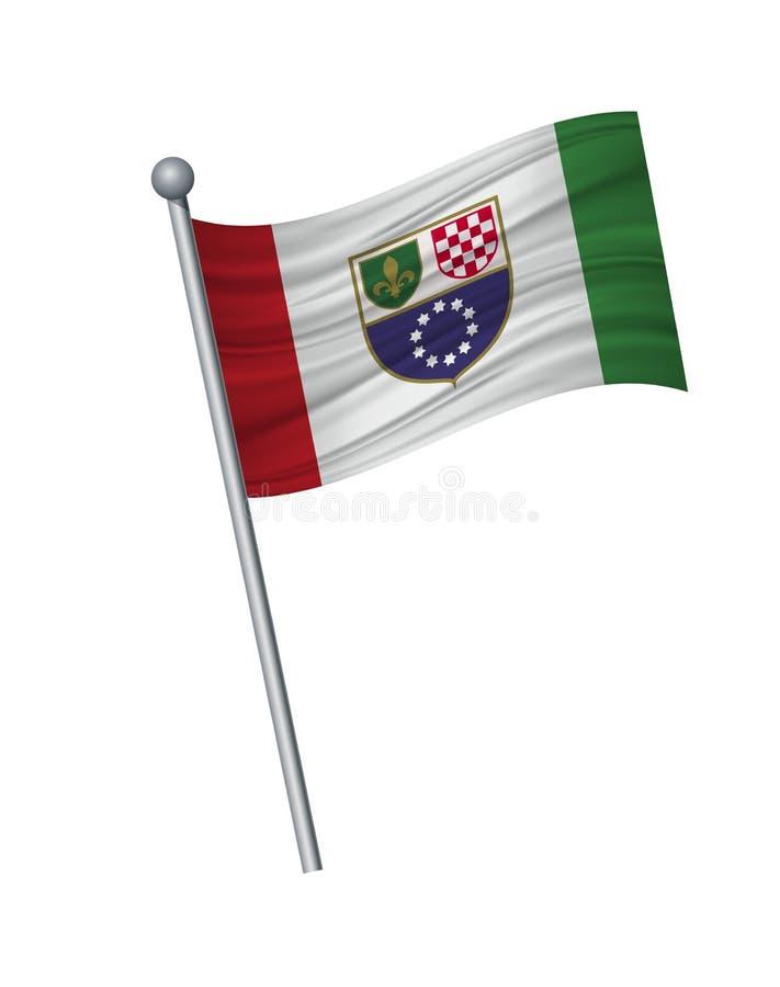 vinka av flaggan på flaggstång, officiella färger och proportion korrekt Vektorillustrationisolat på vit bakgrund stock illustrationer
