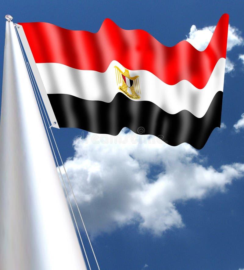 VINKA FÖR EGIPTO-FLAGGA SOM SILLKY ÄR RÖTT arkivfoto