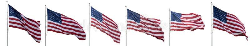 Vinka för Förenta staternaflaggor som isoleras på vit bakgrund, collage, baner arkivfoto