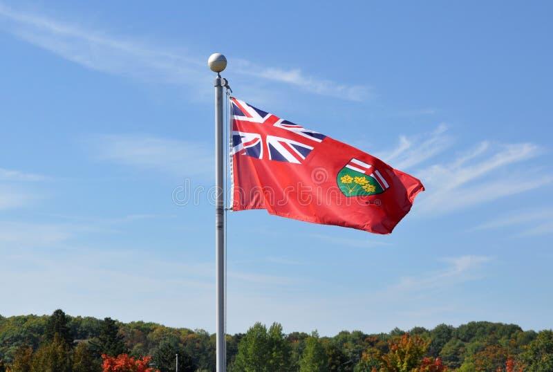 Vinka för Ontario flagga royaltyfria bilder