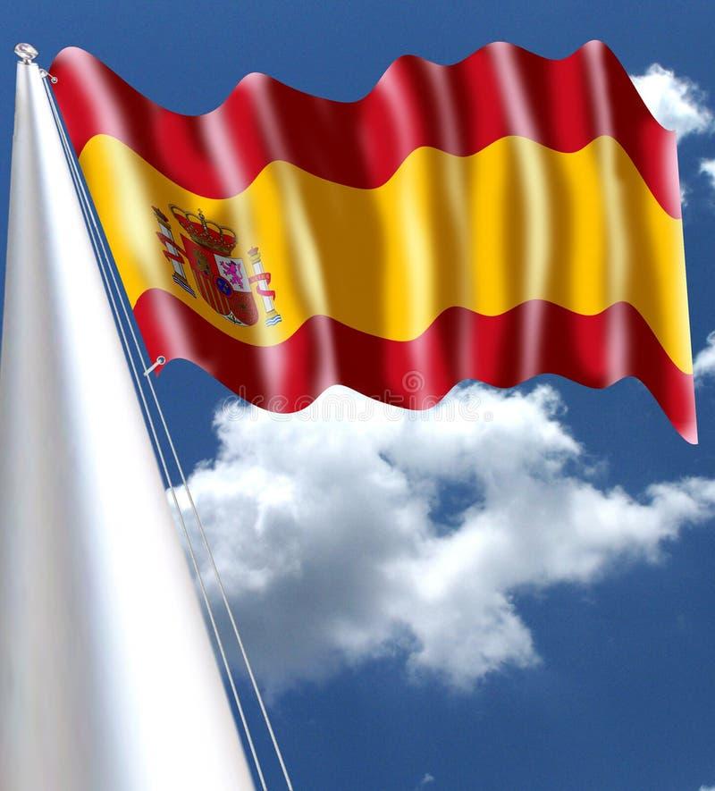 Vinka för Spanien flagga som är silkeslent stock illustrationer