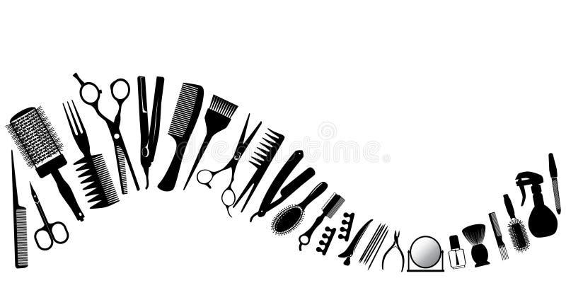 Vinka från konturer av hjälpmedel för frisören stock illustrationer