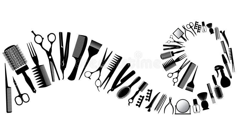 Vinka från konturer av hjälpmedel för frisören royaltyfri illustrationer
