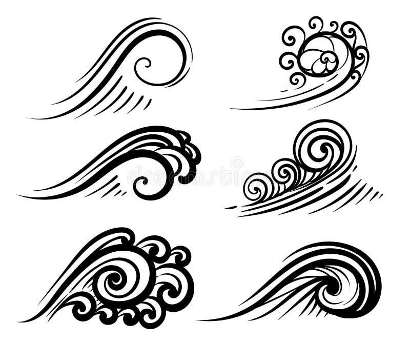 Vinka samlingshav- eller havsvågor, surfa, och färgstänk ställer in den krullande illustrationen för vattendesignbeståndsdelar på stock illustrationer