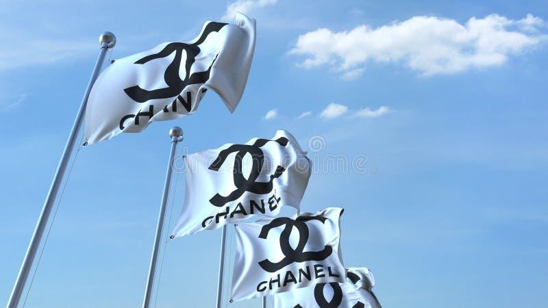 Vinka sjunker med den Chanel logoen mot himmel, den redaktörs- tolkningen 3D vektor illustrationer
