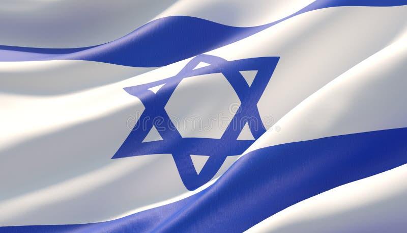 Vinkad högt detaljerad närbildflagga av Israel illustration 3d stock illustrationer
