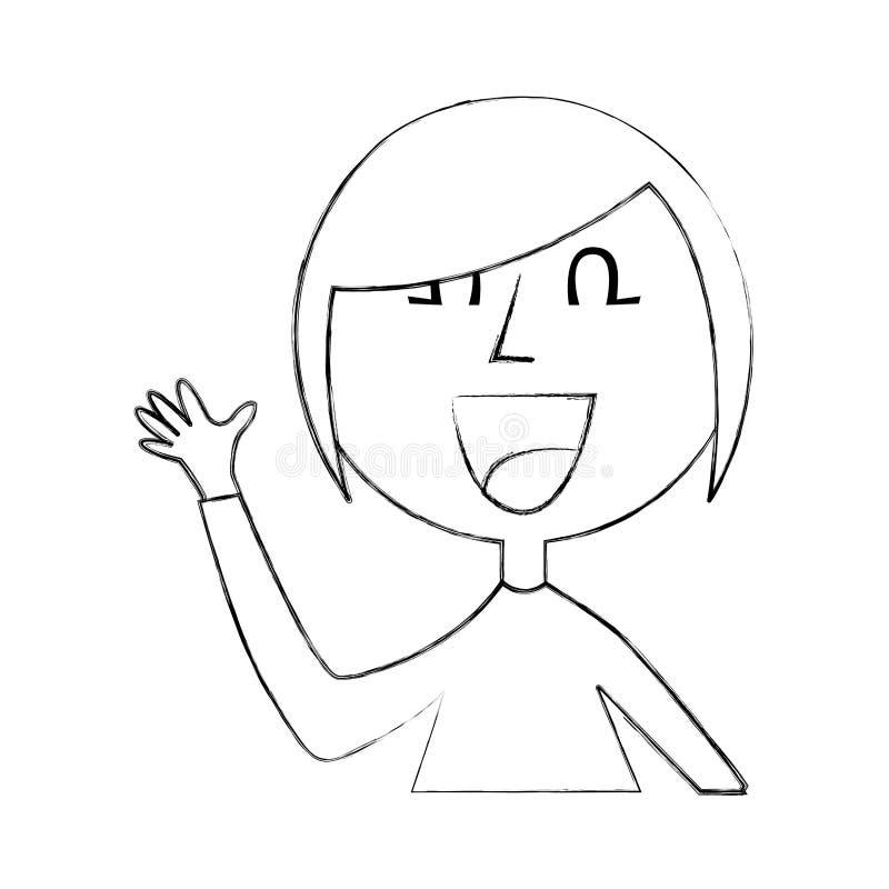 Vinkande avatartecken för ung kvinna stock illustrationer