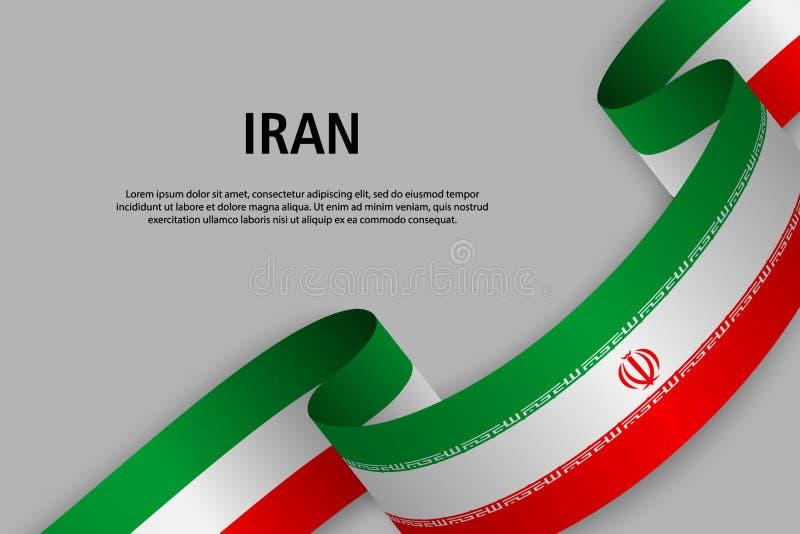 Vinkande band med flaggan av Iran, royaltyfri illustrationer
