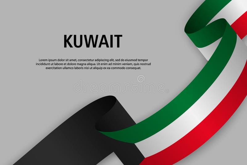 Vinkande band med flaggan av Kuwait stock illustrationer