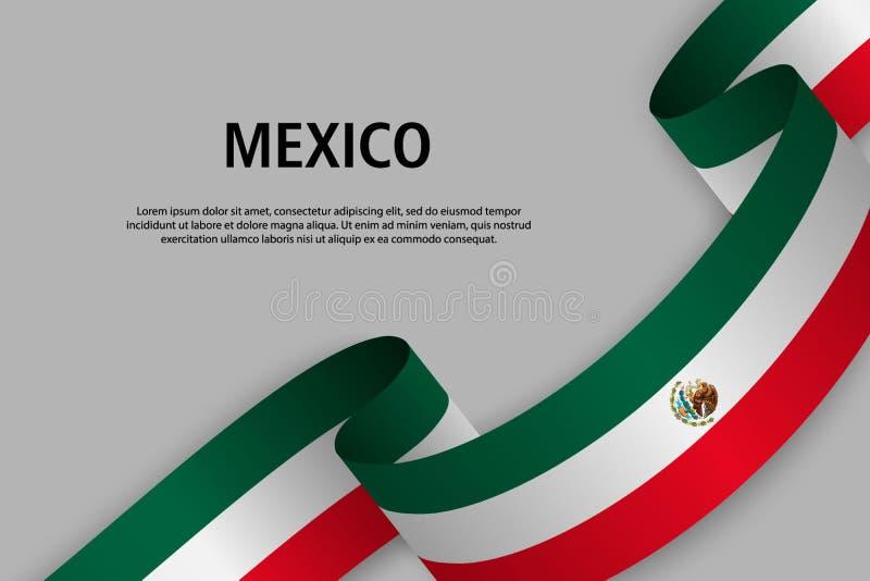Vinkande band med flaggan av Mexico, stock illustrationer