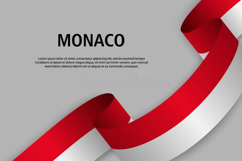 Vinkande band med flaggan av Monaco, royaltyfri illustrationer