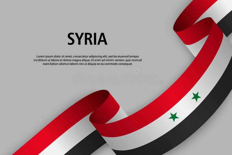 Vinkande band med flaggan av Syrien royaltyfri illustrationer
