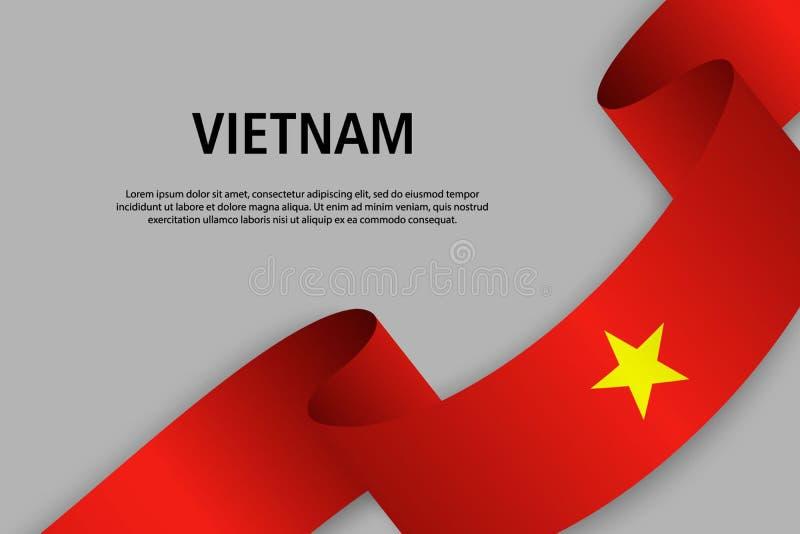 Vinkande band med flaggan av Vietnam, royaltyfri illustrationer