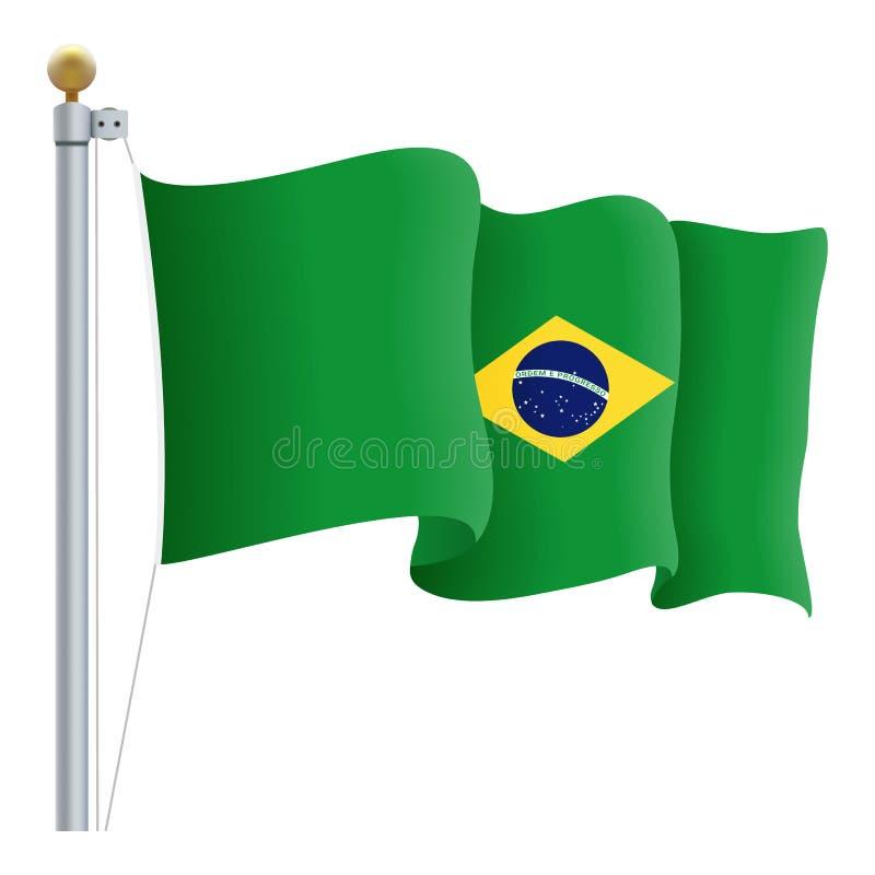 Vinkande Brasilien flagga som isoleras på en vit bakgrund också vektor för coreldrawillustration royaltyfri illustrationer