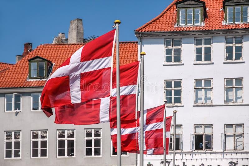 Vinkande Danskaflagga Royaltyfri Foto