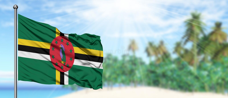 Vinkande dominikisk flagga i den soliga blåa himlen med sommarstrandbakgrund Semestertema, feriebegrepp arkivfoton