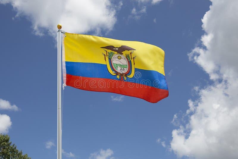 Vinkande Ecuador flagga arkivfoto
