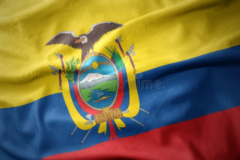 Vinkande färgrik flagga av Ecuador royaltyfri fotografi