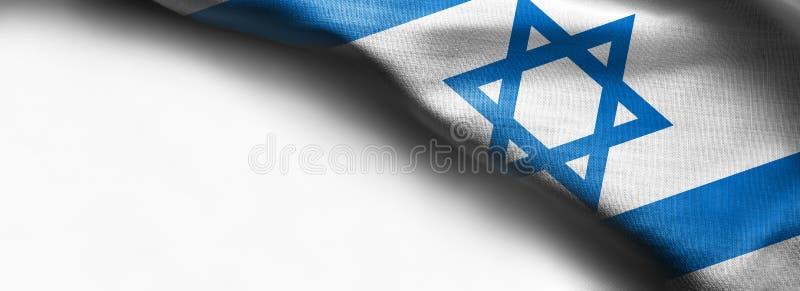 Vinkande färgrik flagga av Israel på vit bakgrund - höger bästa hörnflagga royaltyfri illustrationer