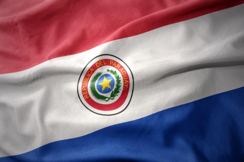 Vinkande färgrik flagga av Paraguay arkivfoto