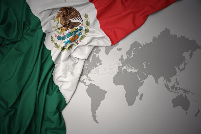 Vinkande färgrik nationsflagga av Mexiko arkivbild