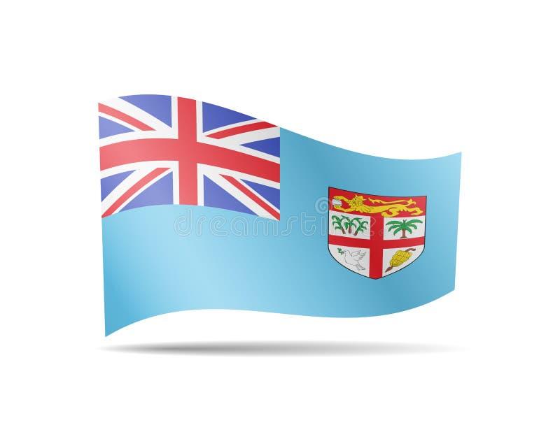 Vinkande fijiansk flagga i vinden Flagga p? den vita vektorillustrationen royaltyfri illustrationer