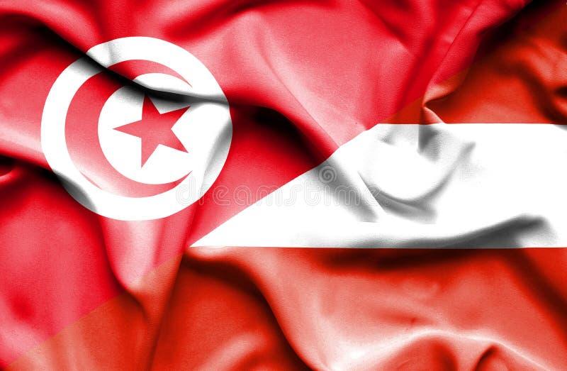 Vinkande flagga av Österrike och Tunisien stock illustrationer