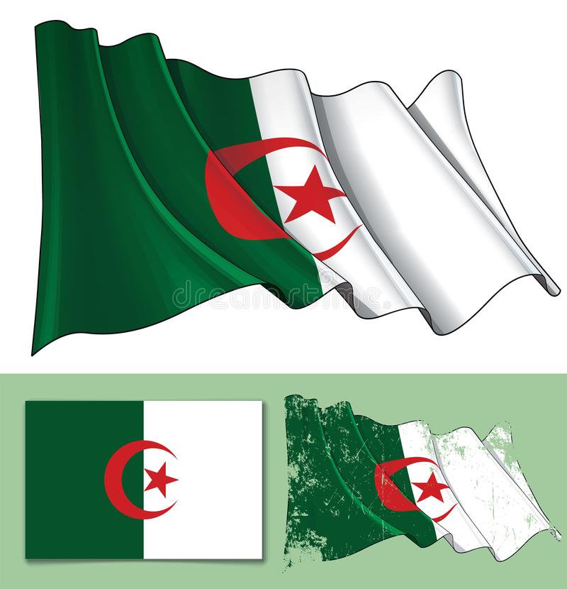 Vinkande flagga av Algeriet stock illustrationer