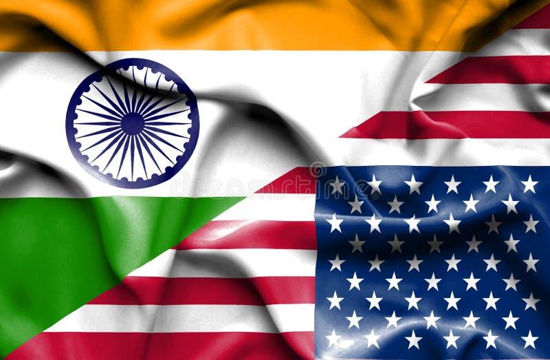 Vinkande flagga av Amerikas förenta stater och Indien royaltyfri illustrationer