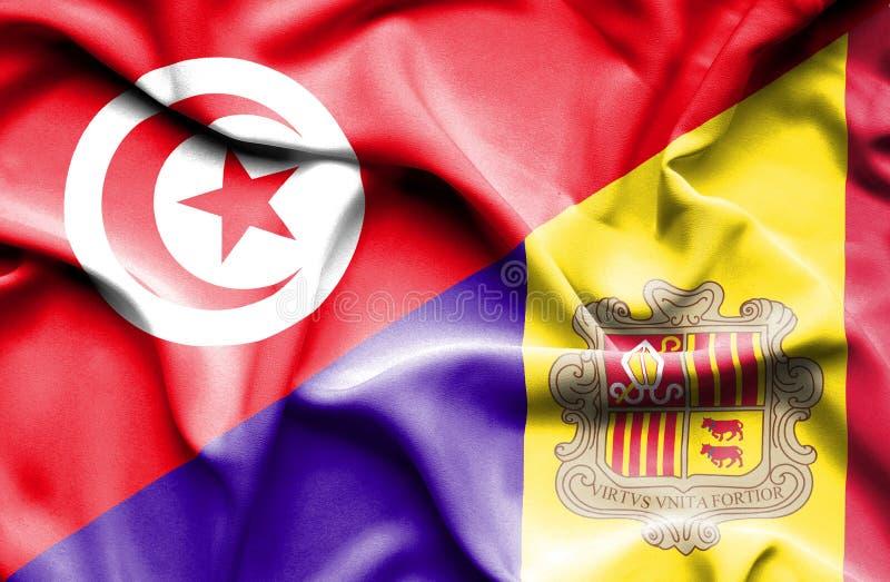 Vinkande flagga av Andorra och Tunisien vektor illustrationer