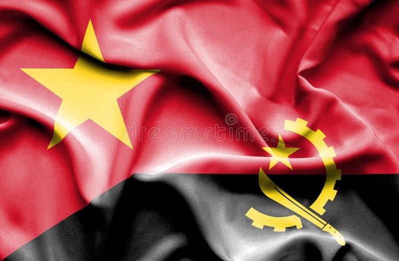 Vinkande flagga av Angola och Vietnam stock illustrationer