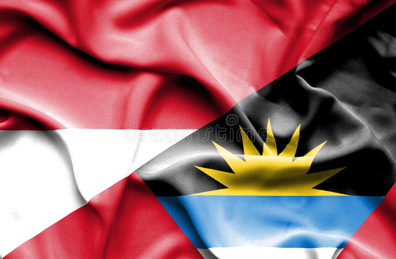 Vinkande flagga av Antigua ochen Barbuda och Monaco royaltyfri illustrationer