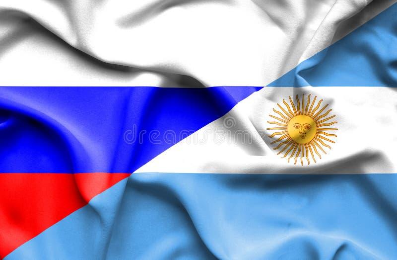 Vinkande flagga av Argentina och Ryssland stock illustrationer