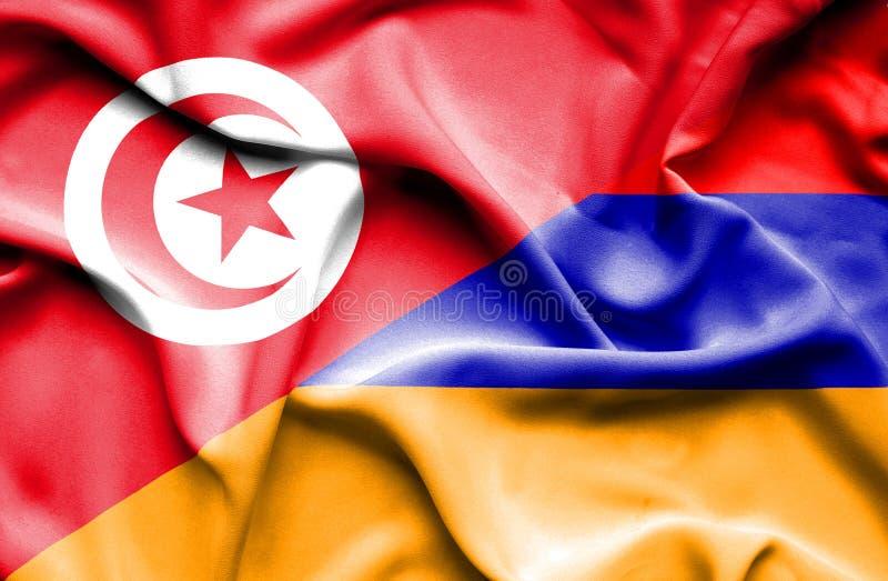 Vinkande flagga av Armenien och Tunisien vektor illustrationer