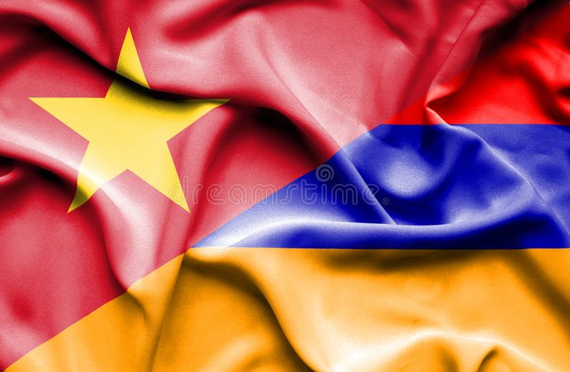 Vinkande flagga av Armenien och Vietnam stock illustrationer