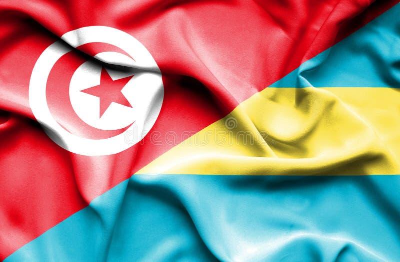 Vinkande flagga av Bahamas och Tunisien vektor illustrationer