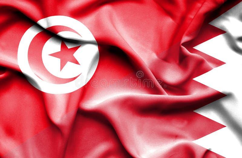 Vinkande flagga av Bahrain och Tunisien royaltyfri illustrationer