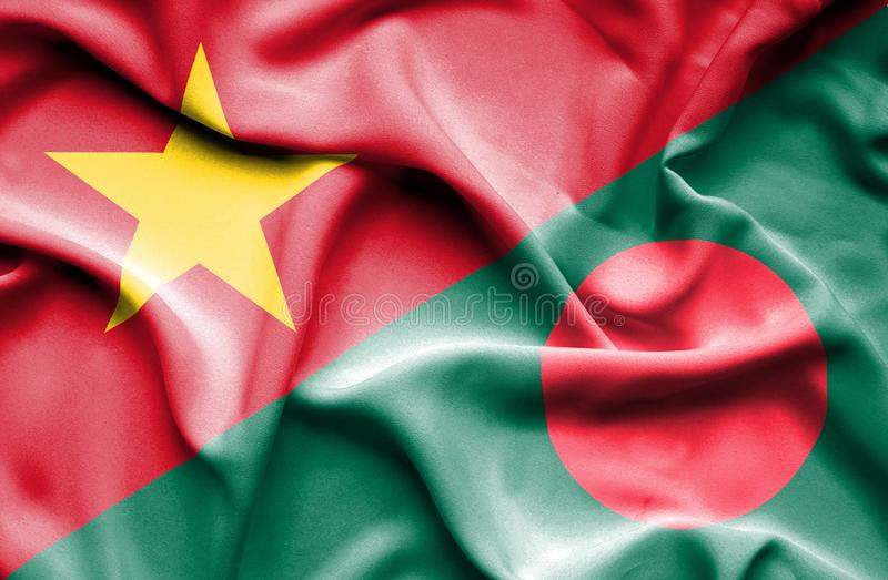 Vinkande flagga av Bangladesh och Vietnam stock illustrationer