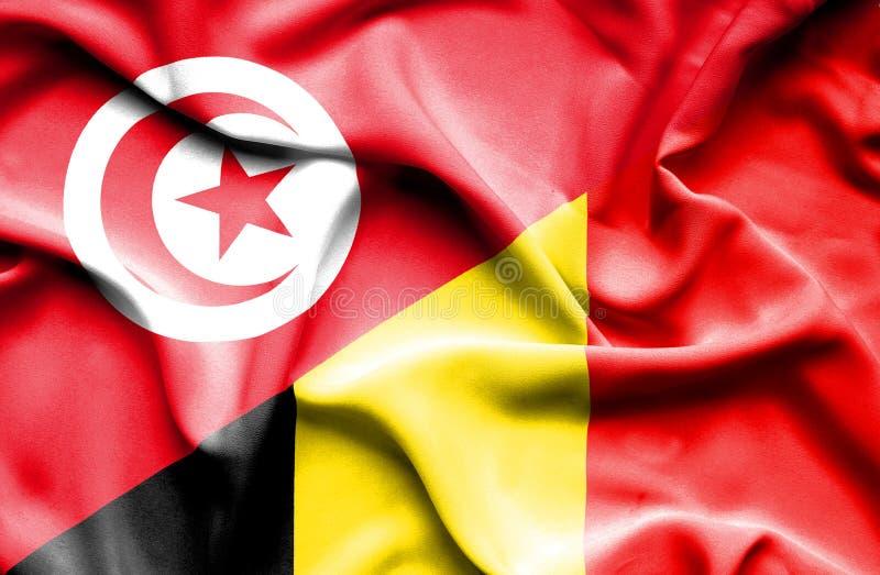 Vinkande flagga av Belgien och Tunisien royaltyfri illustrationer
